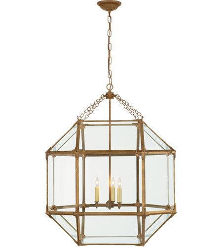 Visual Comfort SK5010GI-CG Suzanne Kasler Morris 3 Light 23 inch Gilded Iron Foyer Pendant Ceiling Light in Clear Glass photo
