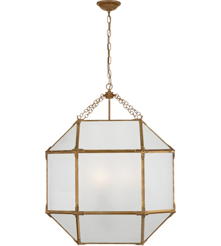 Visual Comfort Sk5010gi Fg Suzanne Kasler Morris 3 Light 23 Inch Gilded Iron With Wax Foyer Pendant Ceiling In Frosted Gl