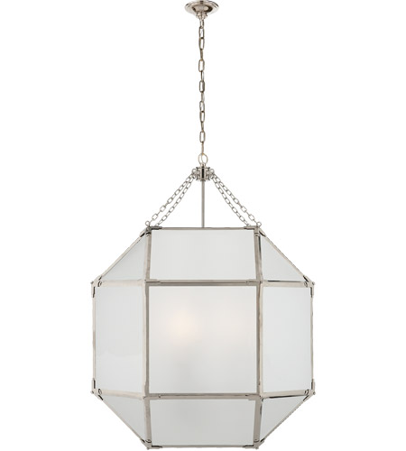 Visual Comfort SK5010PN-FG Suzanne Kasler Morris 3 Light 23 inch Polished Nickel Foyer Pendant Ceiling Light in Frosted Glass photo