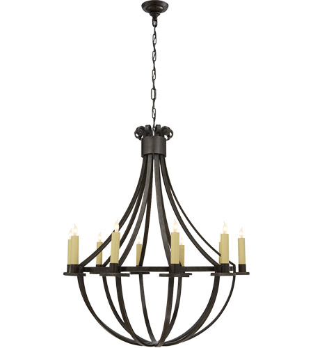 Visual Comfort Suzanne Kasler Seymor 10 Light Chandelier in Aged Iron with Wax SK5012AI photo