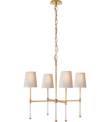 Visual Comfort SK5050HAB-NP Suzanne Kasler Camille 4 Light 27 inch Hand-Rubbed Antique Brass Chandelier Ceiling Light, Suzanne Kasler, Small, Natural Paper Shade photo