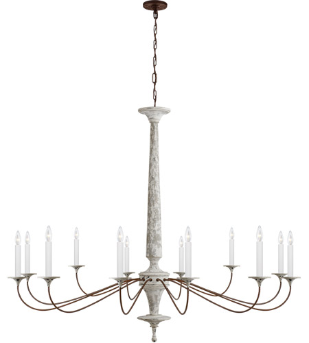 Visual Comfort SK5350SWH/NR Suzanne Kasler Bordeaux 12 Light 60 inch Swedish White and Natural Rust Chandelier Ceiling Light, Grande photo