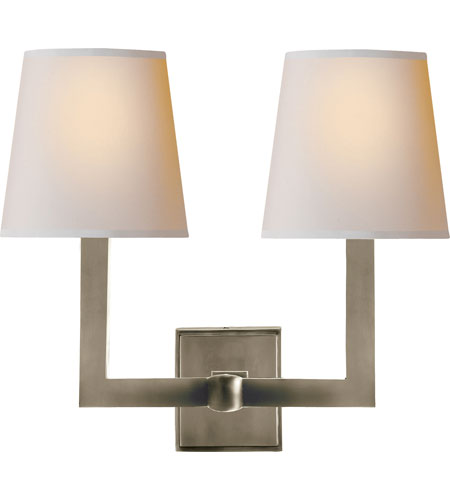 Led Wall Light Square : Visual Comfort SL2820AN-NP E. F. Chapman Square Tube 2 Light 15 inch Antique Nickel Decorative ...