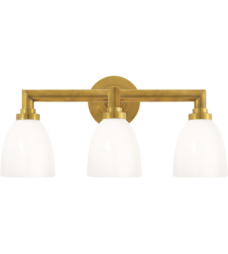 Visual Comfort SL2843HAB-WG E. F. Chapman Wilton 3 Light 22 inch Hand-Rubbed Antique Brass Bath Wall Light photo
