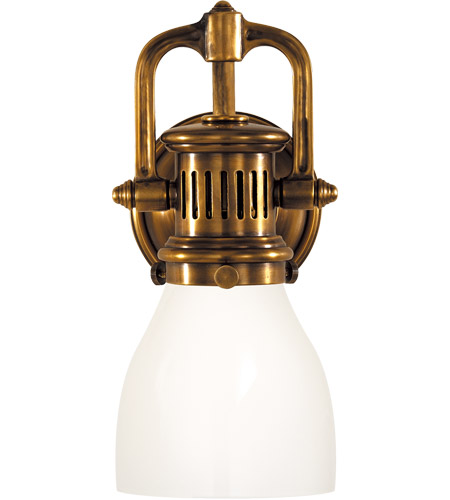 Visual Comfort SL2975HAB-WG E. F. Chapman Yoke 1 Light 5 inch Hand-Rubbed Antique Brass Suspended Wall Sconce Wall Light in White Glass photo