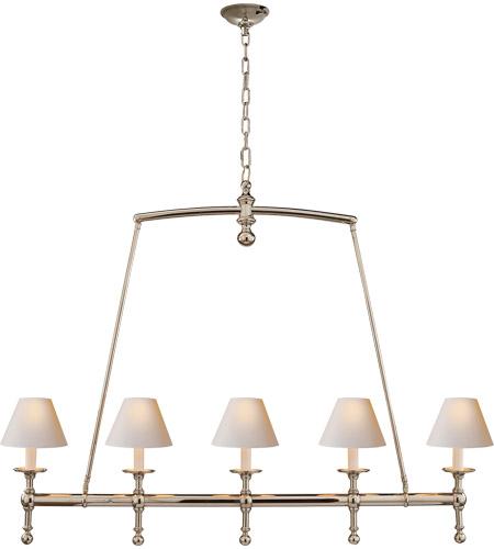 Visual Comfort Sl5811pn Np E F Chapman Clic 5 Light 45 Inch Polished Nickel Linear Pendant Ceiling