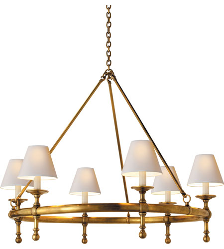Visual Comfort SL5812HAB-NP E. F. Chapman Classic 6 Light 33 inch  Hand-Rubbed Antique Brass Chandelier Ceiling Light - Visual Comfort SL5812HAB-NP E. F. Chapman Classic 6 Light 33 Inch