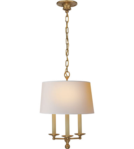Visual Comfort SL5818HAB-NP E.F. Chapman Classic 3 Light 14 inch Hand-Rubbed Antique Brass Hanging Shade Ceiling Light photo
