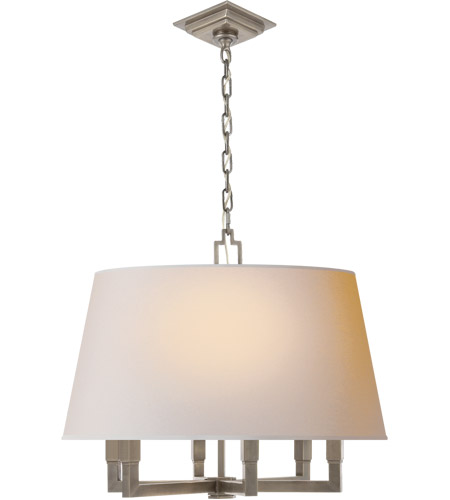 Visual Comfort SL5820AN-NP E. F. Chapman Square Tube 6 Light 24 inch Antique Nickel Hanging Shade Ceiling Light photo