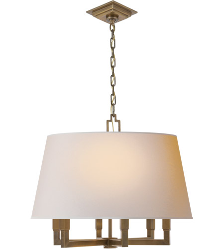 Visual Comfort SL5820HAB-NP E. F. Chapman Square Tube 6 Light 24 inch Hand-Rubbed Antique Brass Hanging Shade Ceiling Light photo