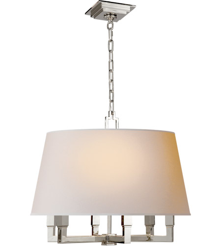 Visual Comfort SL5820PN-NP E. F. Chapman Square Tube 6 Light 24 inch Polished Nickel Hanging Shade Ceiling Light photo