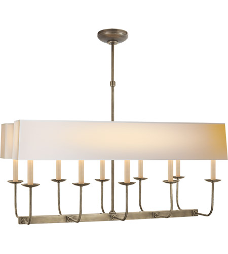 E F Chapman Linear Branched 10 Light 36 Inch Antique Nickel Pendant Ceiling In Long Natural Paper