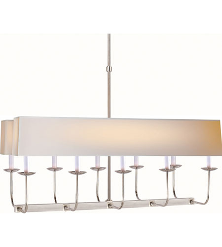 visual comfort sl5863pnnp2 e f chapman linear branched 10 light 36 inch polished nickel linear pendant ceiling light in long natural paper