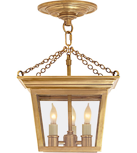 Visual Comfort SL5870HAB E. F. Chapman Cornice 3 Light 10 inch Hand-Rubbed Antique Brass Semi-Flush Ceiling Light photo