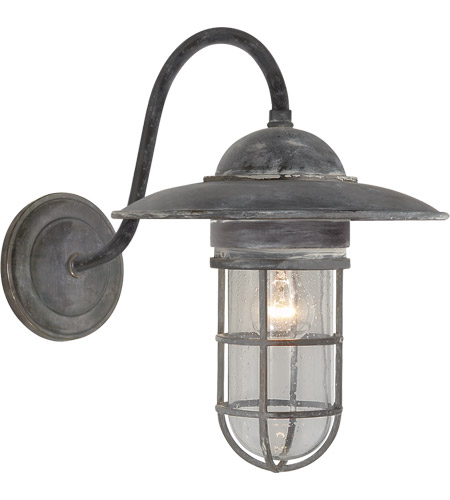 E F Chapman Marine 1 Light 16 Inch Weathered Zinc Outdoor Wall Lantern In Seeded Gl