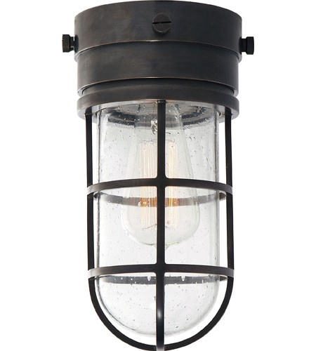 Visual Comfort SLO4000BZ SG E. F. Chapman Marine 1 Light 6 Inch Bronze Outdoor  Flush Mount In Seeded Glass