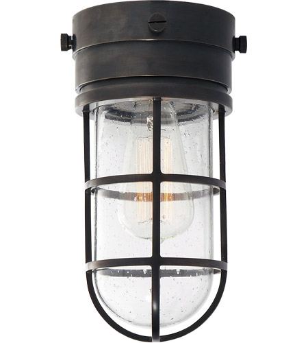 Visual Comfort SLO4000BZ-SG E. F. Chapman Marine 1 Light 6 inch Bronze Outdoor Flush Mount in Seeded Glass photo