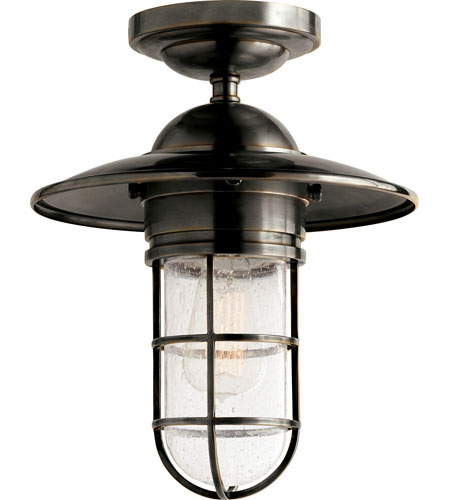 Visual Comfort SLO4002BZ SG E. F. Chapman Marine 1 Light 12 Inch Bronze Outdoor  Flush Mount In Seeded Glass