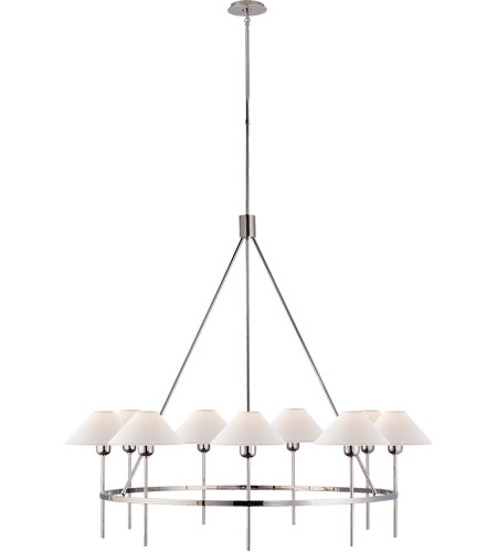 Visual Comfort SP5014PN-NP J. Randall Powers Hackney 9 Light 43 inch Polished Nickel Chandelier Ceiling Light, J. Randall Powers, Large, Natural Paper Shade photo