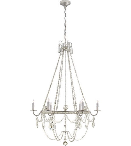 Visual Comfort SP5031BSL-CG J. Randall Powers Sharon 6 Light 36 inch Burnished Silver Leaf Chandelier Ceiling Light, J. Randall Powers, Medium, Clear Crystal photo
