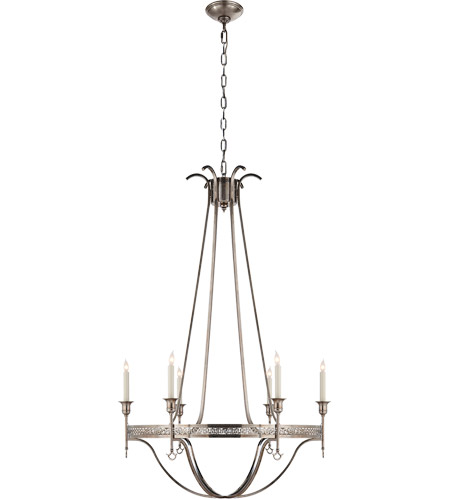 Visual Comfort SR5141SHS John Rosselli Savannah 6 Light 30 inch Sheffield Silver Chandelier Ceiling Light photo