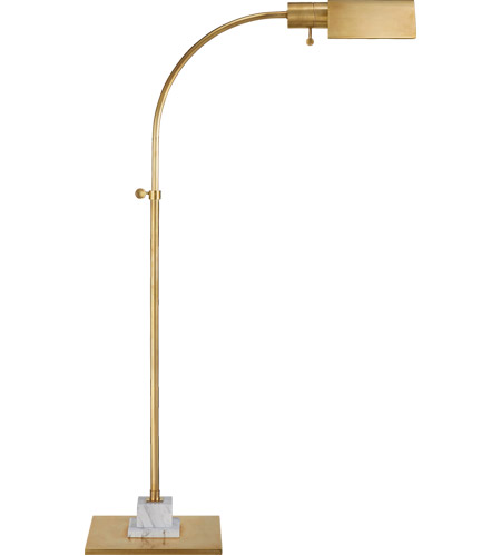 Visual Comfort TOB1102HAB/WM Thomas Obrien Eton 34 inch 40 watt Hand-Rubbed Antique Brass and White Marble Pharmacy Floor Lamp Portable Light, Small photo