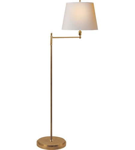 antique brass floor lamp with shade marble base visual comfort watt hand rubbed decorative portable light