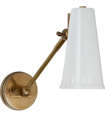 Visual Comfort TOB2065HAB AW Thomas OBrien Antonio 18 Inch 60 Watt  Hand Rubbed Antique Brass Adjustable Wall Lamp Wall Light In Antique White,  ...