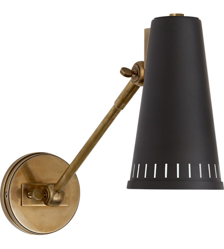 Visual comfort tob2065hab blk thomas obrien antonio 18 inch 60 watt visual comfort tob2065hab blk thomas obrien antonio 18 inch 60 watt hand rubbed antique brass adjustable wall lamp wall light in black thomas obrien mozeypictures Images