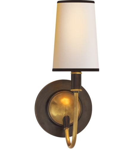 Visual Comfort TOB2067BZ/HAB-NP/BT Thomas Obrien Elkins 1 Light 6 inch Bronze with Antique Brass Accents Decorative Wall Light in Natural Paper photo