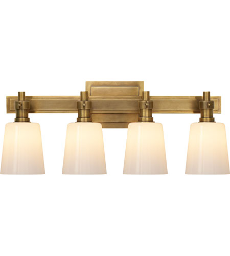 Visual Comfort TOB2153HAB-WG Thomas OBrien Bryant 4 Light 20 inch  Hand-Rubbed Antique Brass Bath Wall Light - Visual Comfort TOB2153HAB-WG Thomas OBrien Bryant 4 Light 20 Inch