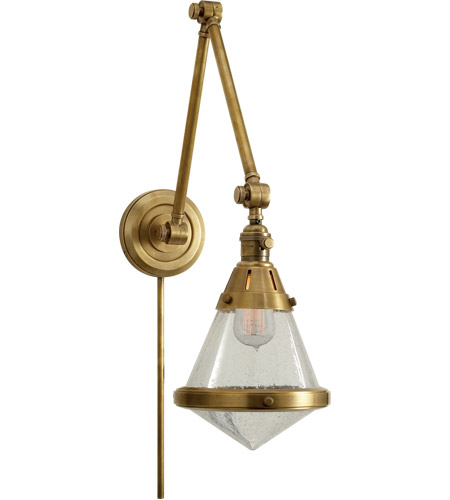 Visual Comfort TOB2156HAB-SG Thomas O'Brien Gale 30 inch 60 watt Hand-Rubbed Antique Brass Task Wall Light in Seeded Glass photo