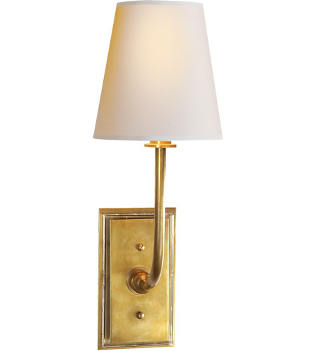 Visual Comfort TOB2190HAB-NP Thomas O'Brien Hulton 1 Light 6 inch Hand-Rubbed Antique Brass Decorative Wall Light in Natural Paper, Clear Glass Plate photo