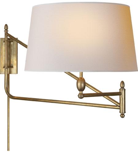 thomas obrien paulo 51 inch 100 watt hand rubbed antique brass swing arm wall light brass swing arm wall lamp