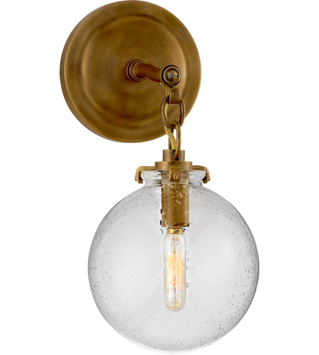 Visual Comfort TOB2225HAB/G4-SG Thomas O'Brien Katie 1 Light 8 inch Hand-Rubbed Antique Brass Decorative Wall Light in Seeded Glass photo