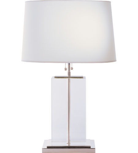 Visual Comfort Thomas OBrien Block 2 Light Decorative Table Lamp in Crystal with Polished Silver with Cotton Shade TOB3030CG-C photo