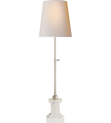 Visual Comfort TOB3101WM/PN NP Thomas OBrien Brett 33 Inch 60 Watt Polished Nickel  Table Lamp Portable Light, Thomas Ou0027Brien, Marble, Base, Natural Paper ...