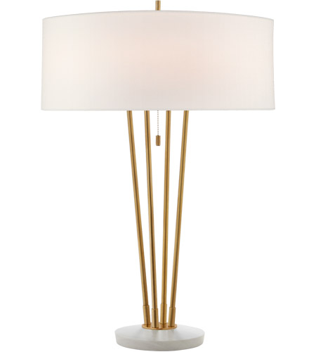 Visual Comfort TOB3737HAB/WM-L Thomas O'Brien Stefano 31 inch 40 watt Hand-Rubbed Antique Brass and White Marble Table Lamp Portable Light, Large photo