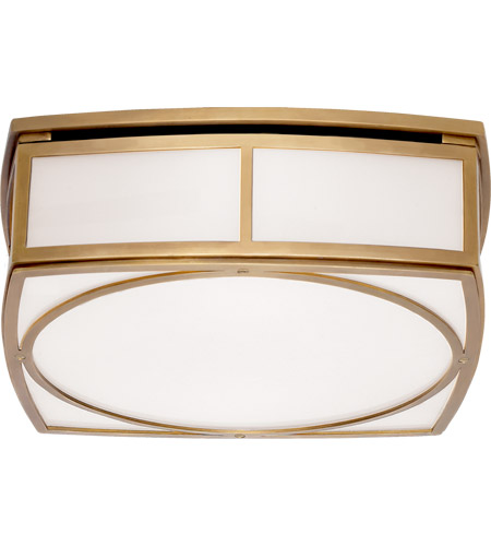 Visual Comfort TOB4073HAB-WG Thomas O'Brien Winston 2 Light 13 inch Hand-Rubbed Antique Brass Flush Mount Ceiling Light, Thomas O'Brien, Large, White Glass photo