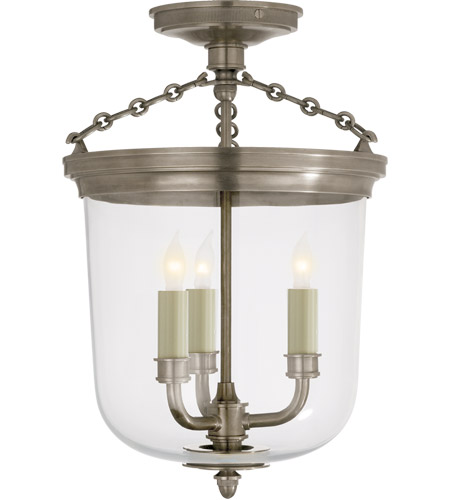 Visual Comfort TOB4212AN Thomas O'Brien Merchant 3 Light 11 inch Antique Nickel Flush Mount Ceiling Light photo