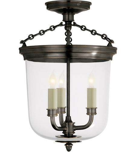 Visual Comfort Thomas OBrien Merchant 3 Light Semi-Flush in Bronze TOB4212BZ photo
