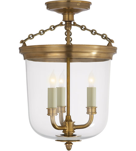 Visual Comfort TOB4212HAB Thomas O'Brien Merchant 3 Light 11 inch Hand-Rubbed Antique Brass Semi-Flush Ceiling Light photo