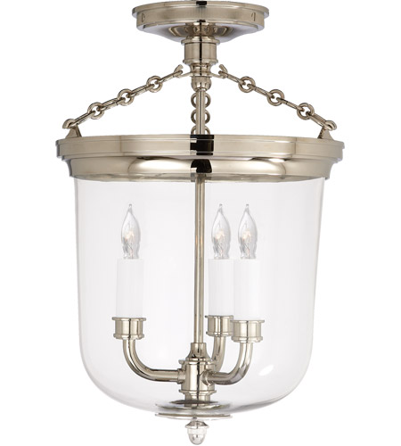 Visual Comfort TOB4212PN Thomas Obrien Merchant 3 Light 11 inch Polished Nickel Semi-Flush Ceiling Light photo