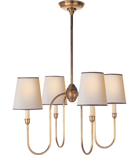 Visual Comfort TOB5007HAB-NP/BT Thomas OBrien Vendome 4 Light 26 inch Hand-Rubbed Antique Brass Chandelier Ceiling Light in Natural Paper with Black Tape photo