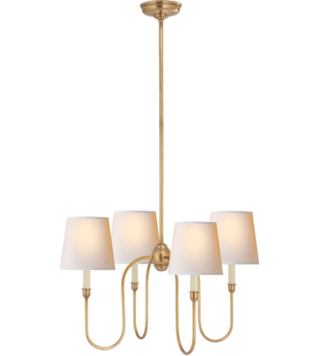 Visual Comfort TOB5007HAB-NP Thomas O'Brien Vendome 4 Light 26 inch Hand-Rubbed Antique Brass Chandelier Ceiling Light in Natural Paper photo