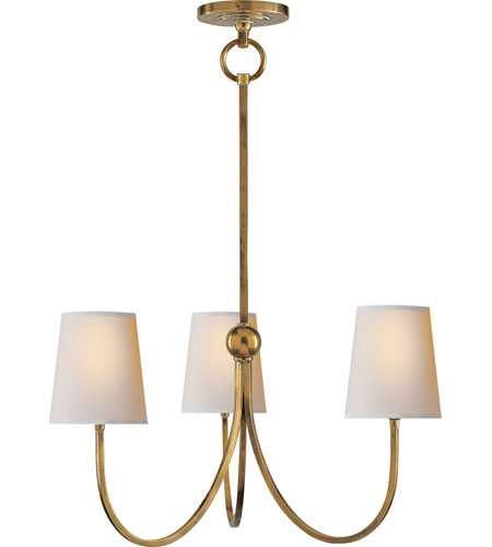 Visual Comfort Thomas OBrien Reed 3 Light Chandelier in Hand-Rubbed Antique Brass TOB5009HAB-NP photo