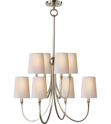 Visual comfort tob5010an np thomas obrien reed 8 light 26 inch antique nickel chandelier ceiling light