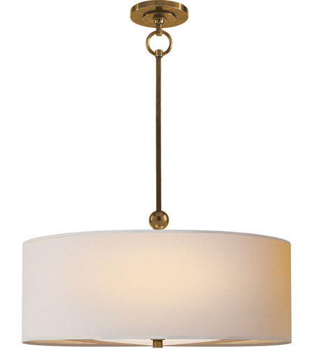 Visual comfort tob5011hab np thomas obrien reed 2 light 22 inch hand rubbed antique brass hanging shade ceiling light in natural paper