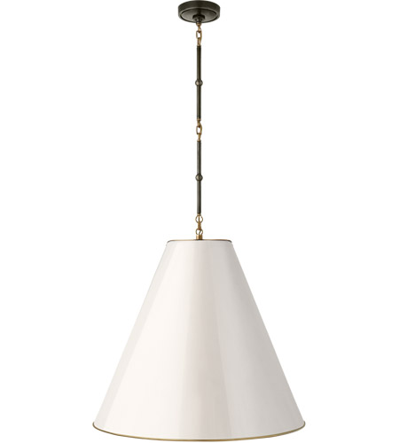 Visual Comfort TOB5014BZ/HAB-AW Thomas O'Brien Goodman 2 Light 25 inch Bronze with Antique Brass Accents Hanging Shade Ceiling Light in Antique White photo