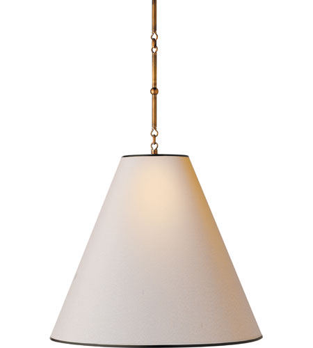 Visual Comfort TOB5014HAB-NP/BT Thomas OBrien Goodman 2 Light 25 inch Hand-Rubbed Antique Brass Hanging Shade Ceiling Light in (None), Natural Paper with Black Tape photo